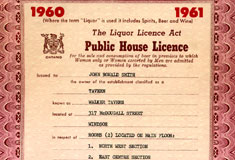 Public House Licence 1960-1961 granted to John Ronald Smith, Owner