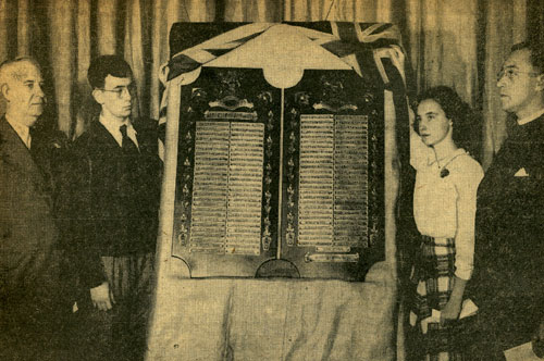Dedication services for �Tablets of Memory� to the 105 Patterson students killed in WWII � Windsor Star 12/11/1947