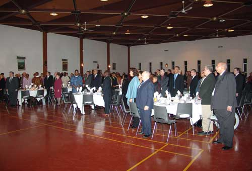 Lyle Browning receives a well deserved standing ovation at the 2005 Black Community Leadership Award Banquet � Photo courtesy of Jim Allen