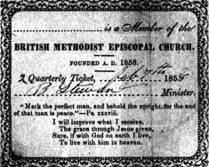 Membership card signed by Rev. B. Stewart in 1858 � courtesy of the McCurdy Collection at the Archives of Ontario