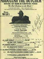 Menu from Abdullah The Butcher's House of Ribs & Chinese Food in Atlanta, Georgia � courtesy of Rodney Davis