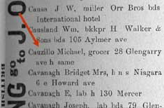 1893 City Directory Listing for Michael Cauzillo, Native of Genoa,  Who Ran One of This Area�s First Italian Businesses