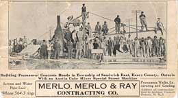 P10679 - Advertisement card for Merlo, Merlo and Ray Contracting Co. Note that 'Ray' is an anglicization of the Italian name 'Re'.  Courtesy of Tom Ray.