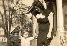 P10346 - Meconi Homestead, Rome Garden Restaurant, 475 Windsor Ave circa 1945-46, Clara Meconi Ryall and son Patrick