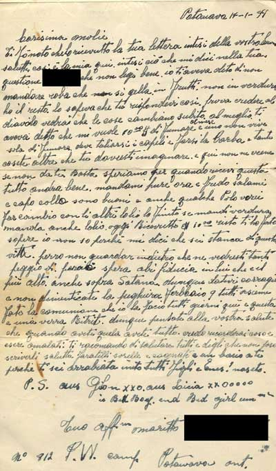 Letter from Italian man from Windsor in internment camp to his wife
