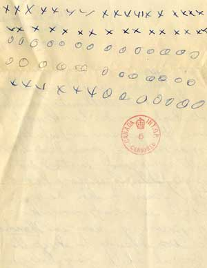 Letter from son to his father in internment               camp, World War II. Note the censor stamp