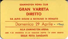 P11347A - Alfio Golini - Tickets for the show hosted by Alfio                     Golini and Nicolino Di Donato, 1960